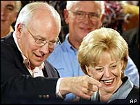 Dick and Lynne Cheney at a campaign rally in Florida on 27 October