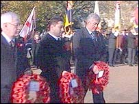 Don Touhig MP, Rodney Berman and Rhodri Morgan hold wreaths