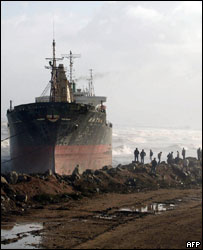 A ship is run aground off Algiers