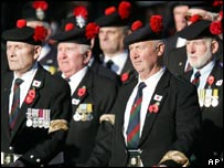 Former members of the Black Watch at the London ceremony