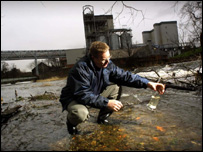 Diageo's Billy Mitchell assesses water quality at Cameronbridge Distillery