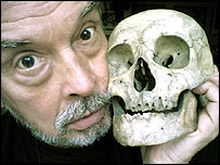 David Bailey pictured with a skull