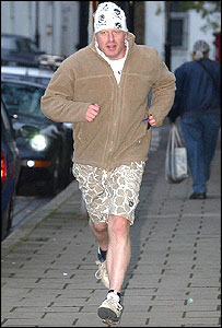 Boris Johnson on his early morning run