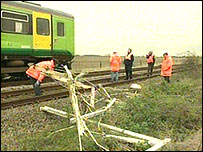 Train crash site