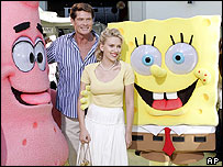 David Hasselhoff and Scarlett Johansson at the SpongeBob premiere