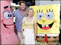 David Hasselhoff and Scarlett Johansson at the SpongeBob premiere