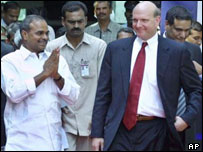 Microsoft chief executive Steve Ballmer opening the firm's new Hyderabad office with Andhra Pradesh chief minister Y S Rajasekhar Reddy