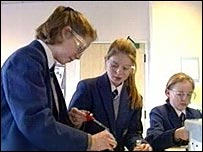 girls in science lesson
