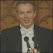 Tony Blair speaking at the Lord Mayor's Banquet
