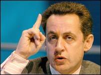 French Finance Minister Nicolas Sarkozy