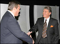Yanukovych and Yushchenko at TV debates