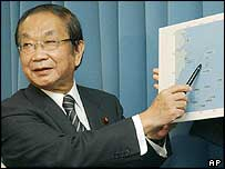 Japanese Defence Agency's Chief Yoshinori Ono explains the submarine's path (12/11/04)