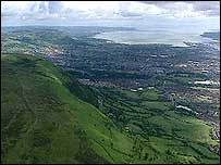The mountain lies on the outskirts of Belfast