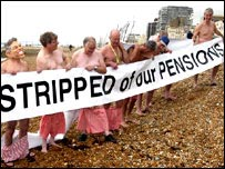 Pension protestors