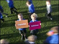 Children holding placards