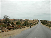 Long rural road out of Huambo