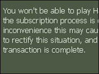 Screengrab of Steam error message, BBC