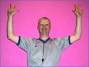 Three-point basket: both hands go up with three fingers waggling