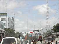 Mobile phone masts in Mogadishu