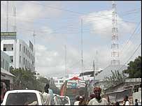 Mobile phone masts in Mogadishu