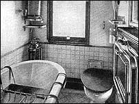 A bathroom in one of the railway carriages