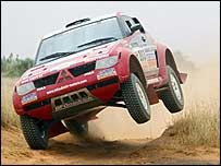 Stephane Peterhansel in action during the 2004 Dakar Rally