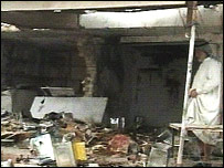 Television screen grab of the Baiji bombing