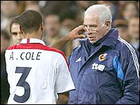 Ashley Cole, who suffered racial abuse, talks to Spain coach Luis Aragones