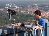 Team member checking the robotic camera in Delft, The Netherlands