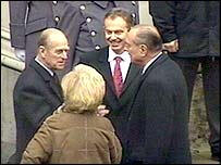 President and Mrs Chirac are greeted by Prince Philip and Tony Blair