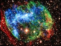 Supernova remnant W49B (Chandra/Palomar - Nasa/CXC/SSC/J.Keohane et al)