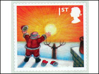 Festive first class stamp