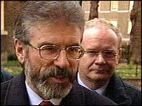 Gerry Adams leading a Sinn Fein delegation at Downing Street