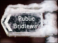 Snow on a sign