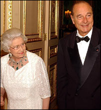 The Queen and French President Jacques Chirac