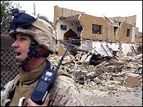 A US marine in the Iraqi city of Falluja