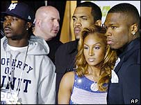 Young Buck (far left) with fellow rappers Lloyd Wright (third right), Olivia (second right) and 50 Cent (far right)
