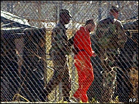 Detainee at Guantanamo Bay being moved