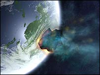 An asteroid hitting the earth