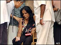 Judge's wife at scene of the shooting in Colombo