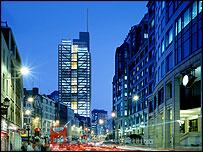Bishopsgate night view - rendering by Hayes Davidson