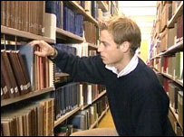 William in a library