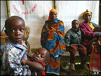 Internally displaced Congolese people wait to see a doctor in Ngungu, eastern Congo