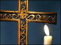 Candle and a cross