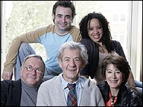Sir Ian McKellen (centre) with (clockwise left-right) Sam Kelly, Joe McFadden, Cat Simmons and Maureen Lipman