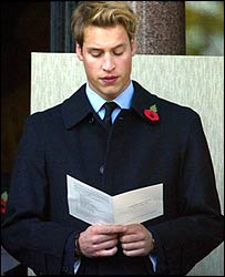 Prince William at remembrance service