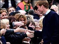 William greets crowds
