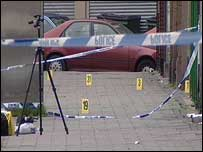 The scene of the shooting at Bristol Street, Birmingham