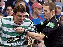 Alan Thompson was sent off by referee Kenny Clark