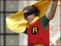 Father 4 Justice campaigner Jolly Stanesby dressed as Robin